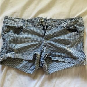 stripped blue and white jean shorts